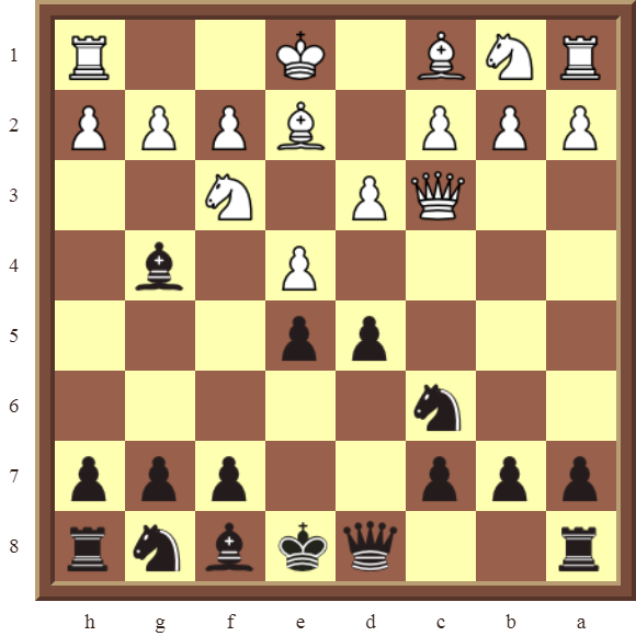 Diagram 10 PINS – Black wins the white Queen for a Bishop in 2 moves.