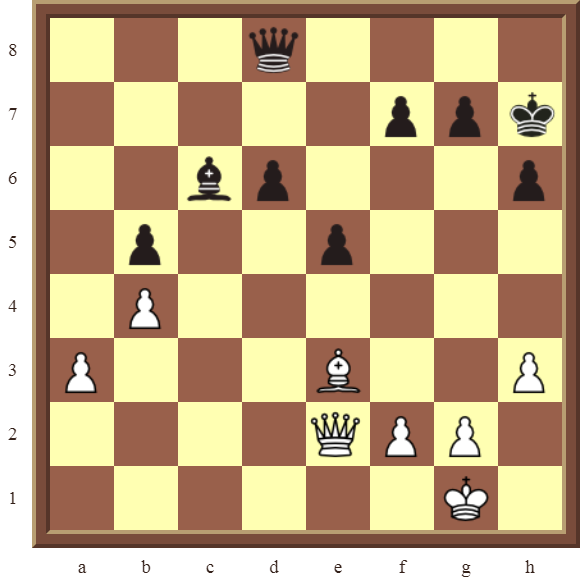 CHAPTER 4 OTHER FORKS/DOUBLE ATTACKS – Diagram 102  – White wins the black Bishop in 2 moves.