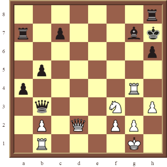 CHAPTER 4 OTHER FORKS/DOUBLE ATTACKS – Diagram 104  – White wins the black Bishop in 3 moves.