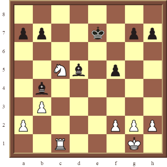 CHAPTER 4 OTHER FORKS/DOUBLE ATTACKS – Diagram 111  – White wins a black Pawn in 3 moves.