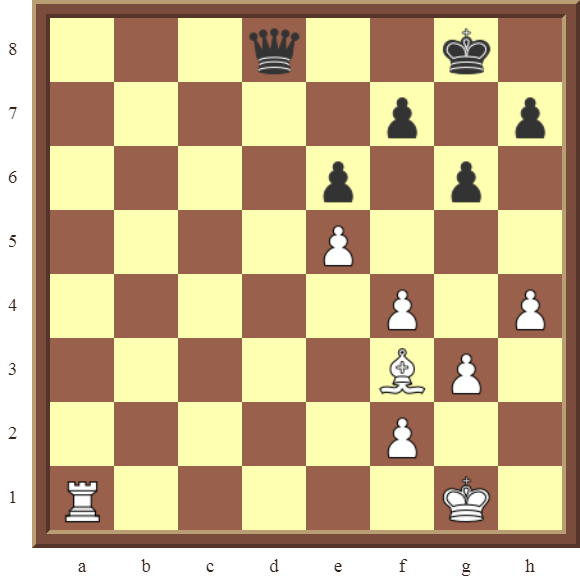 Diagram 12 PINS – White wins the black Queen for a Rook in 2 moves.