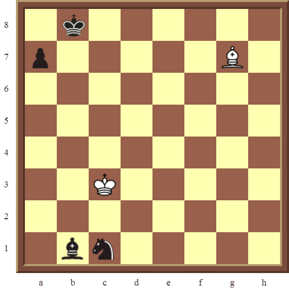 White wins a black Bishop or Knight in 2 moves