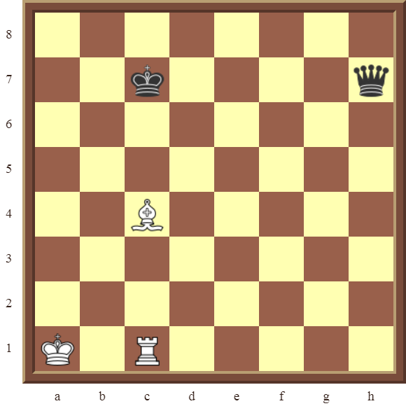 CHAPTER 5 DISCOVERED CHECKS Diagram 126 – White wins the black Queen in 2 moves.