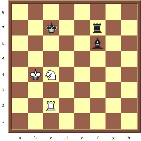 CHAPTER 5 DISCOVERED CHECKS – Diagram 138  – White wins the black Rook in 2 moves.