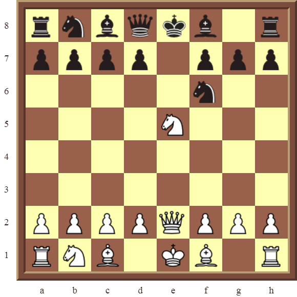 CHAPTER 5 DISCOVERED CHECKS – Diagram 139  – White wins the black Queen for a Knight in 2 moves.
