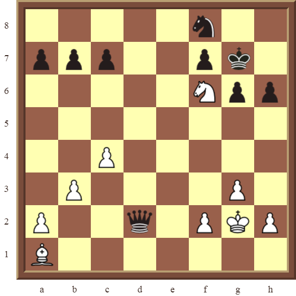 CHAPTER 5 DISCOVERED CHECKS – Diagram 141  – White wins the black Queen in 2 moves.