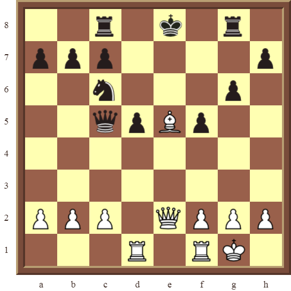 CHAPTER 5 DISCOVERED CHECKS – Diagram 146 – White wins the black Queen or checkmates in 2 moves.