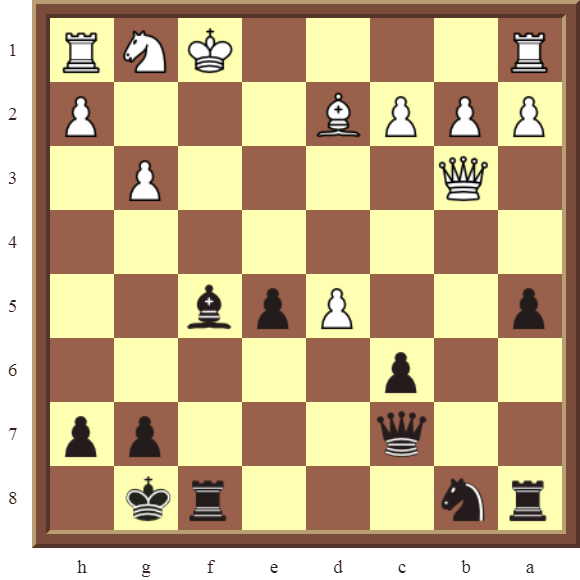 CHAPTER 5 DISCOVERED CHECKS – Diagram 147 – Black wins the white Queen and a Pawn for a Rook in 2 moves.
