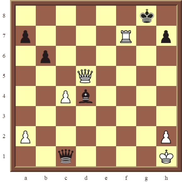 CHAPTER 5 DISCOVERED CHECKS – Diagram 151 – White wins the black Queen in 2 moves.