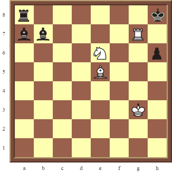 White wins both black Bishops and the Rook in 4 moves