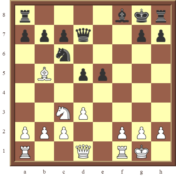 PINS: Diagram 17  – White wins the d5 pawn and black Queen for a Knight & Bishop in 3 moves.