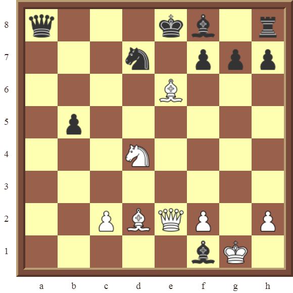 White wins the black Queen or checkmates in 2 moves