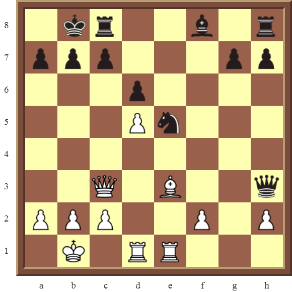 CHAPTER 7 DISCOVERED ATTACKS – Diagram 190  – White wins the black Queen and a pawn for a Bishop in 2 moves.