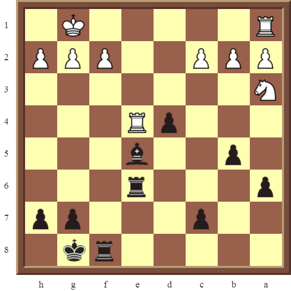 CHAPTER 7 DISCOVERED ATTACKS – Diagram 198  – Black wins a white Rook and a pawn in 2 moves.