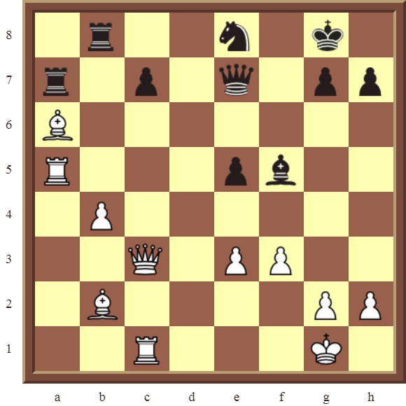 CHAPTER 7 DISCOVERED ATTACKS – Diagram 203  – White wins a black Rook in 2 moves.