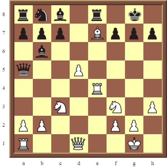 CHAPTER 7 DISCOVERED ATTACKS – Diagram 204  – White wins the black Queen for a Rook in 2 moves.