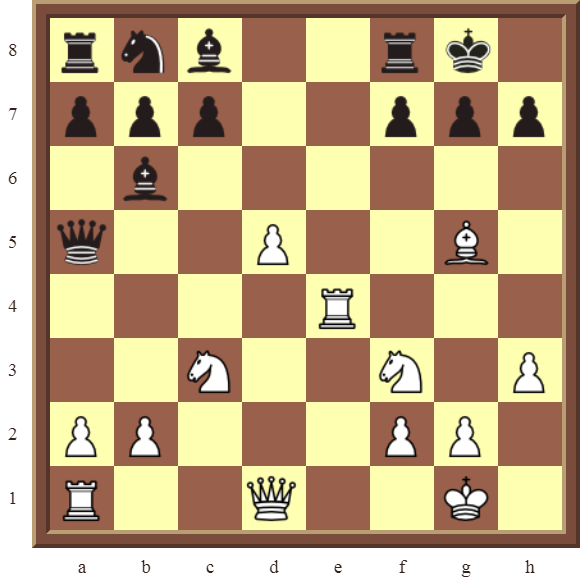 CHAPTER 7 DISCOVERED ATTACKS – Diagram 205  – White wins the black Queen for a Rook in 3 moves.