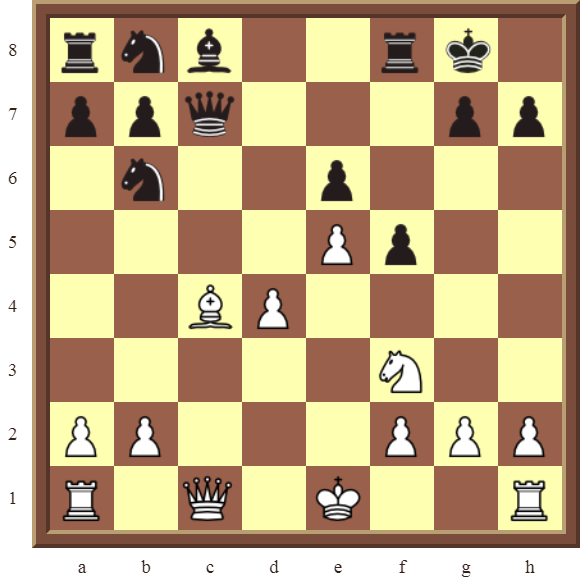 CHAPTER 7 DISCOVERED ATTACKS – Diagram 208  – White wins the black Queen and a pawn for a Bishop in 2 moves.