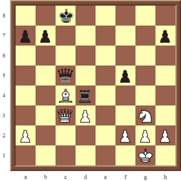 CHAPTER 7 DISCOVERED ATTACKS – Diagram 210  – White wins the black Queen in 2 moves.