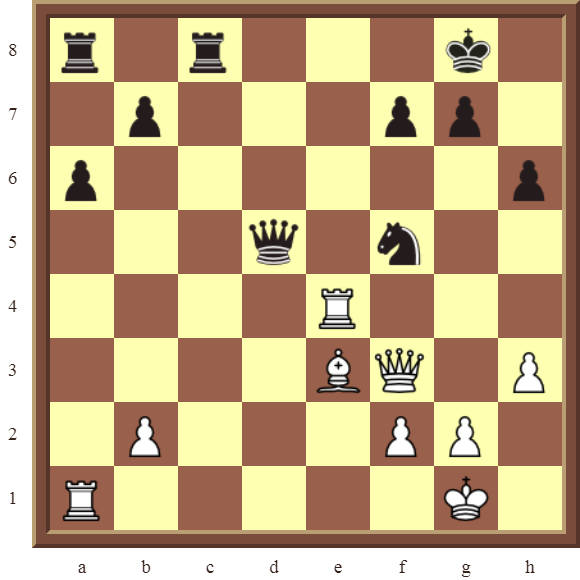 White wins the black Queen for a Rook in 2 moves