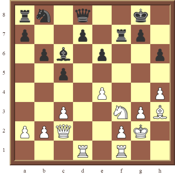 PINS: Diagram 24  – White wins a pawn and the black Rook on f7 for a Bishop in 2 moves, or wins a pawn and the black Queen for a Bishop in 2 moves.