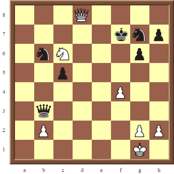 White win the black Queen in 3 moves