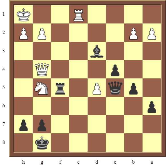 Black checkmates or wins the white Knight in 2 moves