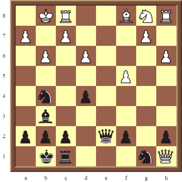 CHAPTER 9 DOUBLE THREATS – Diagram 278  – Black checkmates or wins the white Queen for a Bishop in 2 moves!