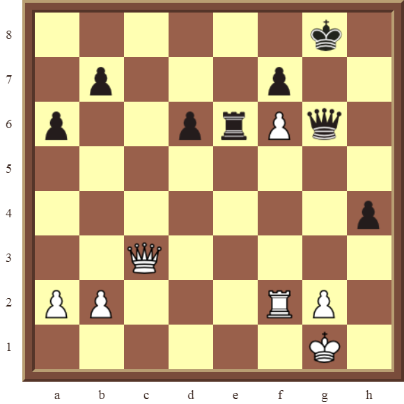 CHAPTER 10 PROMOTING PAWNS – Diagram 300 – White promotes the f-pawn to a Queen in 4 moves!
