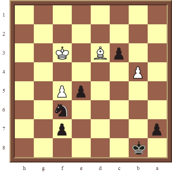 CHAPTER 10 PROMOTING PAWNS – Diagram 306 – Black forces a Bishop and Knight trade, then promotes the c-pawn to a Queen in 4 moves!