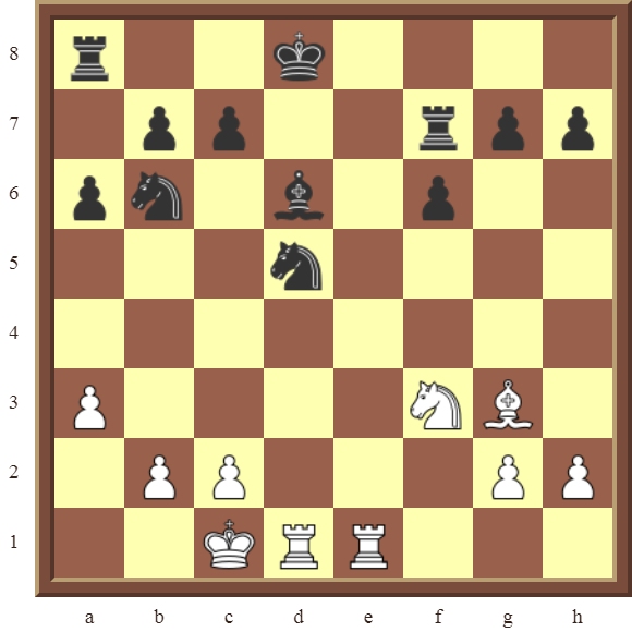 "PINS: Diagram 31  – White wins a Knight or a Bishop on the ""d"" file for a pawn in 2 or 3 moves."