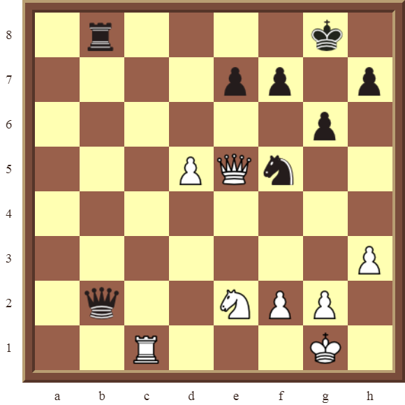 CHAPTER 11 REMOVING THE GUARD – Diagram 312 – White wins the black Queen for a Rook in 2 moves!