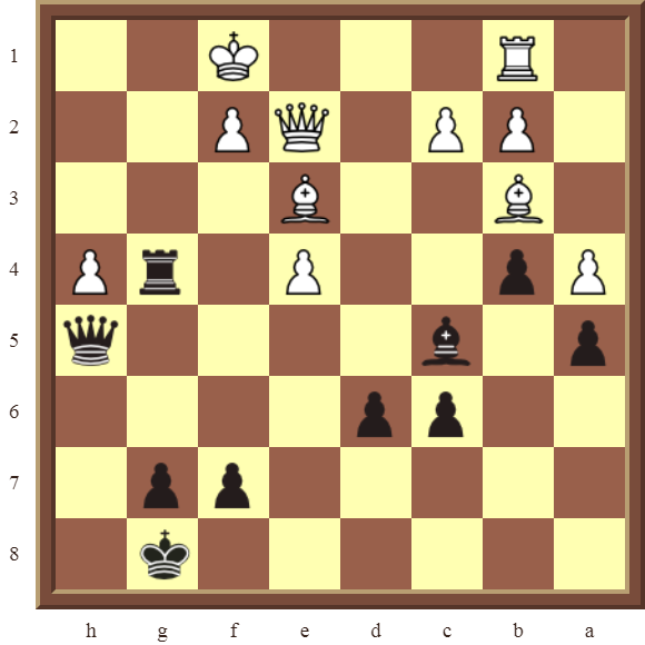 CHAPTER 11 REMOVING THE GUARD – Diagram 314 – Black wins the white Queen for a Rook in 2 moves!