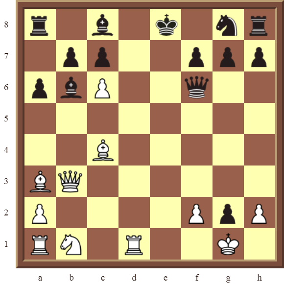 CHAPTER 11 REMOVING THE GUARD – Diagram 319 – White wins the black Queen and a pawn for a Bishop and a Rook in 3 moves!