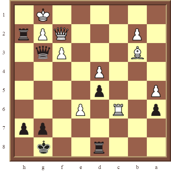 CHAPTER 11 REMOVING THE GUARD – Diagram 322 – Black wins the white Queen for a Rook in 2 moves!
