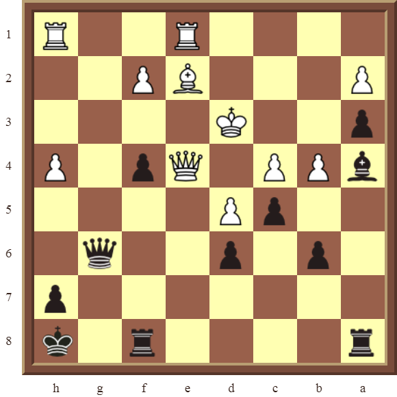 CHAPTER 11 REMOVING THE GUARD – Diagram 323 – Black wins the white Queen for a Bishop in 2 moves!
