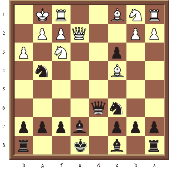 CHAPTER 11 REMOVING THE GUARD – Diagram 326 – Black checkmates or wins the white Queen for two Knights in 2 moves!