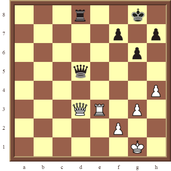 CHAPTER 11 REMOVING THE GUARD – Diagram 332 – White wins the black Queen for a Rook in 2 moves!