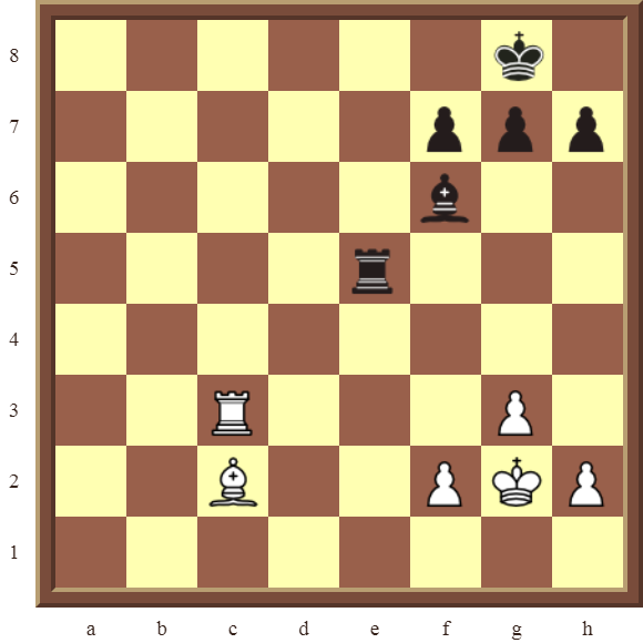 Back Rank Combinations: Diagram 34  – White checkmates in 3 moves.