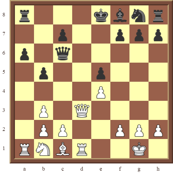White wins the black Queen or checkmate in 2 moves