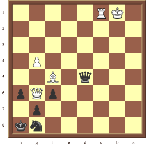 CHAPTER 12 PERPETUAL CHECK – Diagram 343  – Black avoids checkmate, and draws this losing position by using a Perpetual Check!