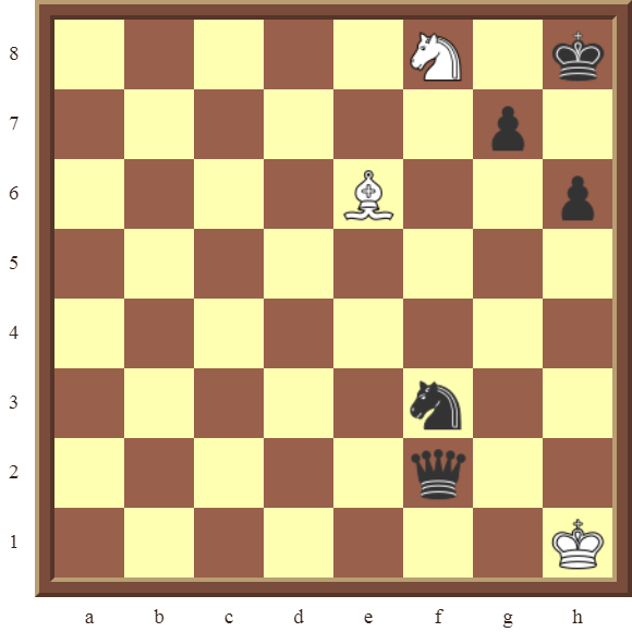White avoids checkmate and draws this losing position by using a perpetual check