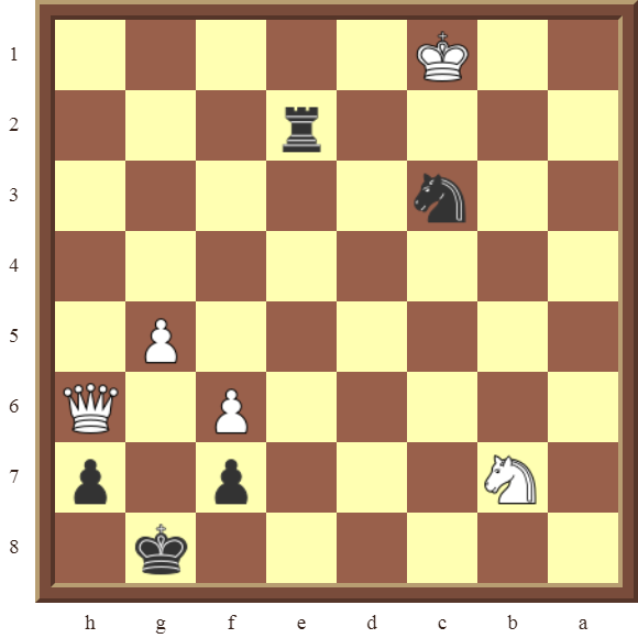 CHAPTER 12 PERPETUAL CHECK – Diagram 349 – Black avoids checkmate and draws this otherwise losing position by using Perpetual Check!