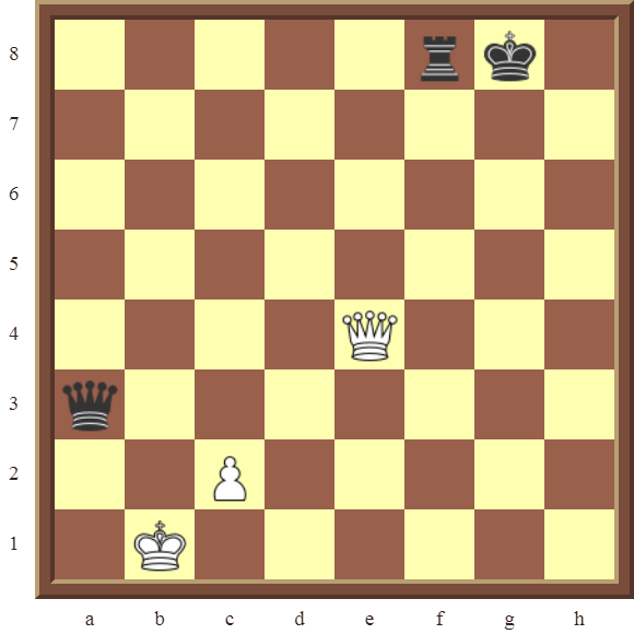 CHAPTER 12 PERPETUAL CHECK – Diagram 369 – White avoids checkmate and draws this otherwise losing position by using a Perpetual Check!