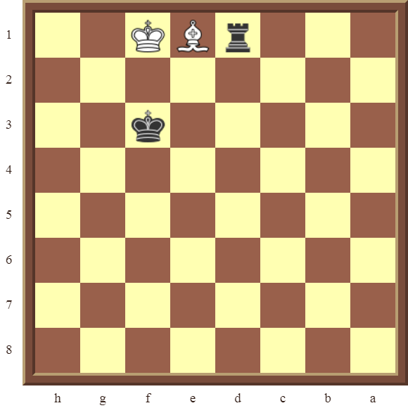 CHAPTER 13 ZUGZWANG/STALEMATE: Diagram 383 – Black wins the white Bishop in 2 moves!