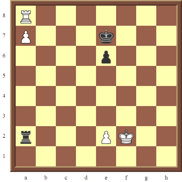 CHAPTER 13 ZUGZWANG/STALEMATE: Diagram 384 – White wins the black Rook for a pawn in 3 moves or promotes the a-pawn in 2 moves!