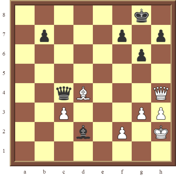 Back Rank Combinations: Diagram 39  – White checkmates in 1 move.