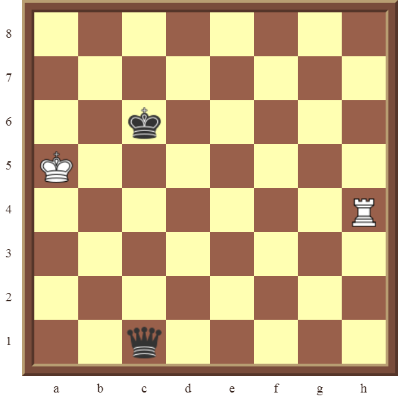 CHAPTER 13 ZUGZWANG/STALEMATE: Diagram 390 – White draws this losing position in 1 move or wins the black Queen in 2 moves!