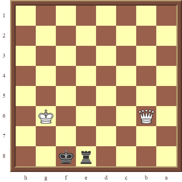 CHAPTER 13 ZUGZWANG/STALEMATE: Diagram 391 – Black draws this losing position in 1 move or wins the white Queen in 2 moves!