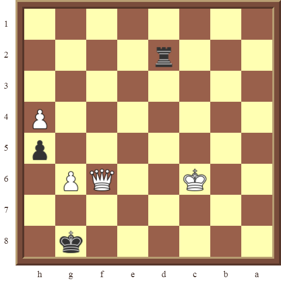 Black draws this losing position in 1 move or wins the white Queen in 2 moves